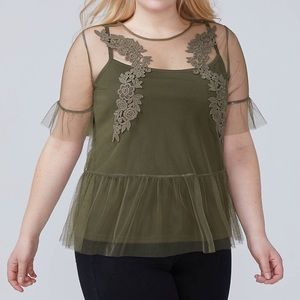 Embroidered Lace Mesh Tee by Lane Bryant BNWT